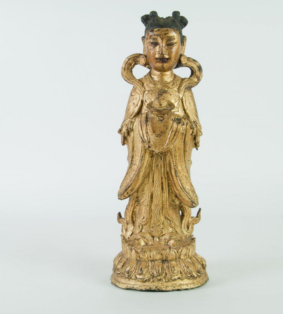 Chinese Gilt Bronze Standing Immortal