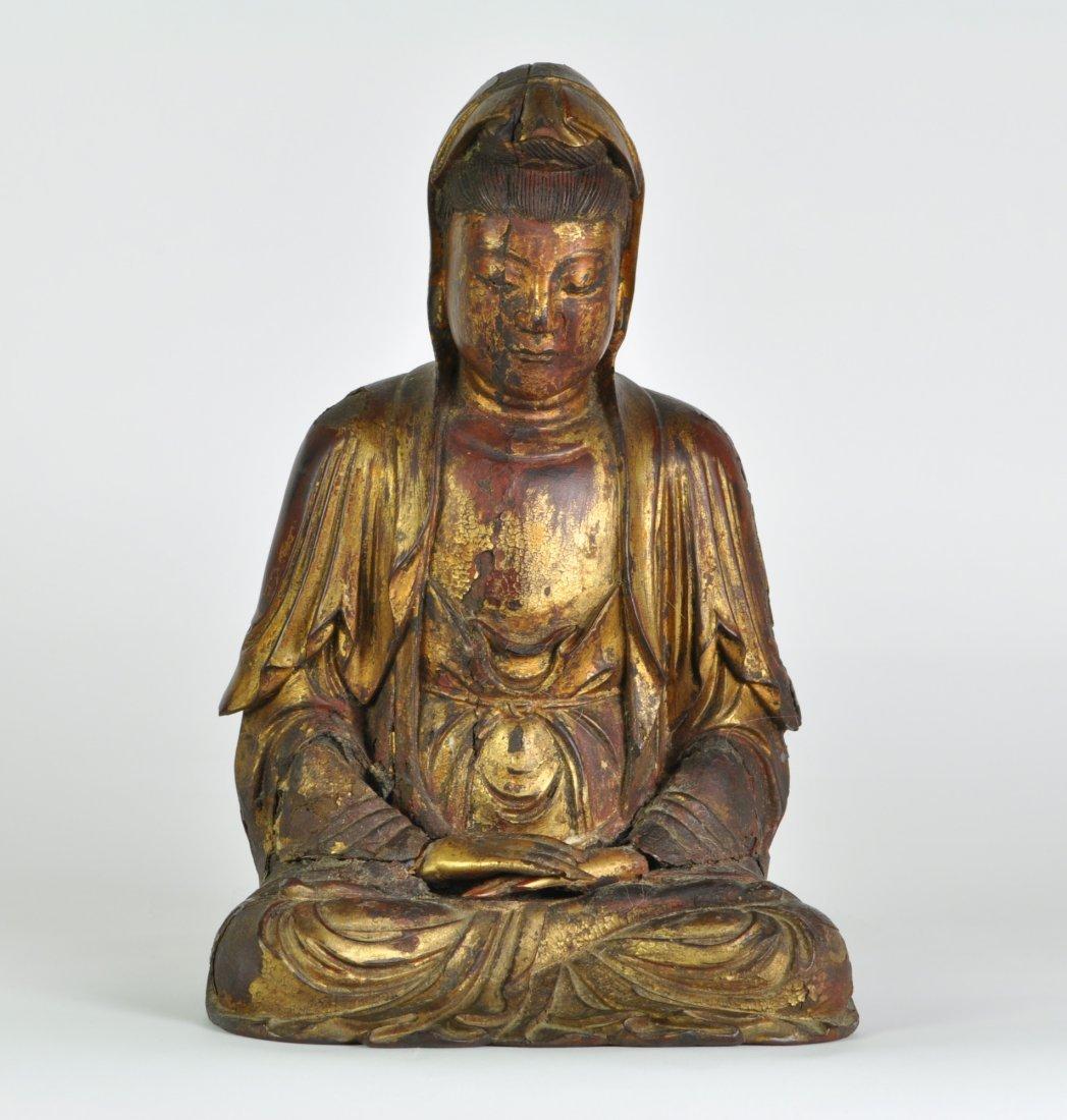 Chinese Gold Wooden Sitting Kwan-yin