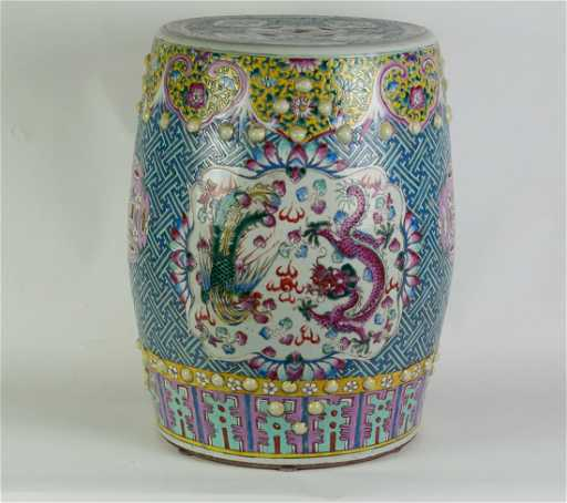 Chinese Large Famille Rose Garden Stool