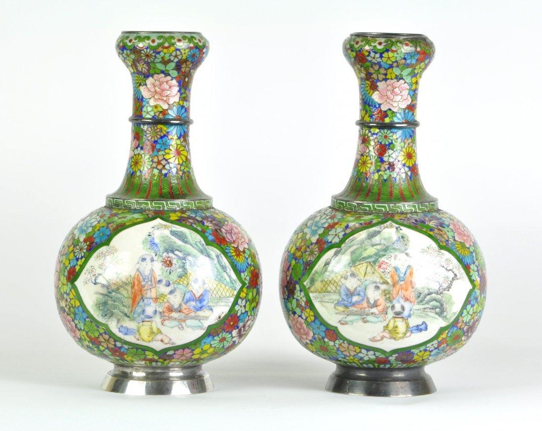 Chinese Pair of Silver Enamel Painted Vases