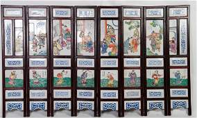 Chinese Large Set of Porcelain Screens