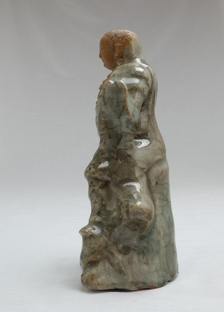 Chinese Celadon Figure Weituo - 2