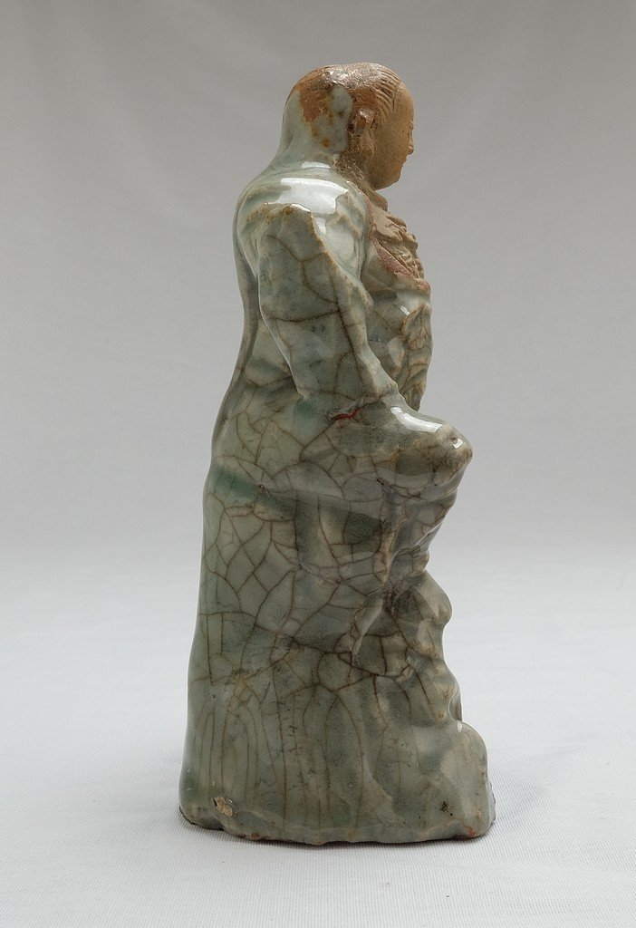 Chinese Celadon Figure Weituo - 4