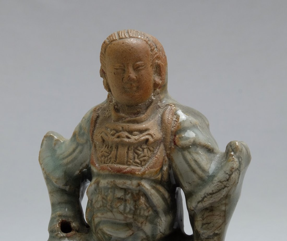 Chinese Celadon Figure Weituo - 5