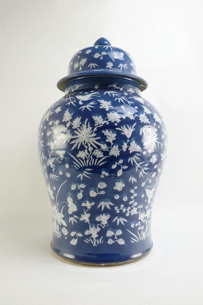Chinese Large Blue Glazed Lidded Jar - 2