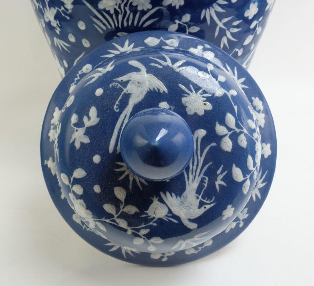 Chinese Large Blue Glazed Lidded Jar - 3