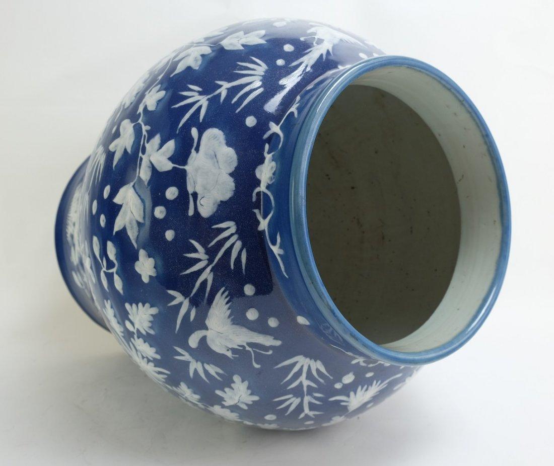 Chinese Large Blue Glazed Lidded Jar - 6