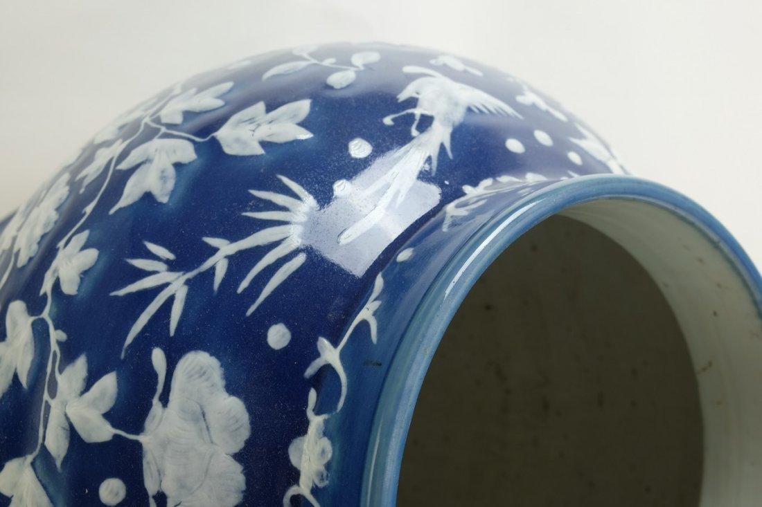 Chinese Large Blue Glazed Lidded Jar - 7