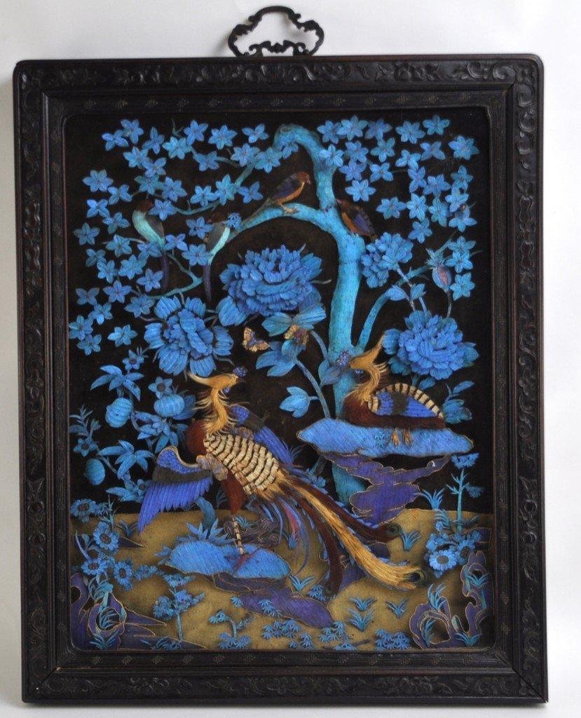 Chinese Large Kingfisher Panel紫檀木