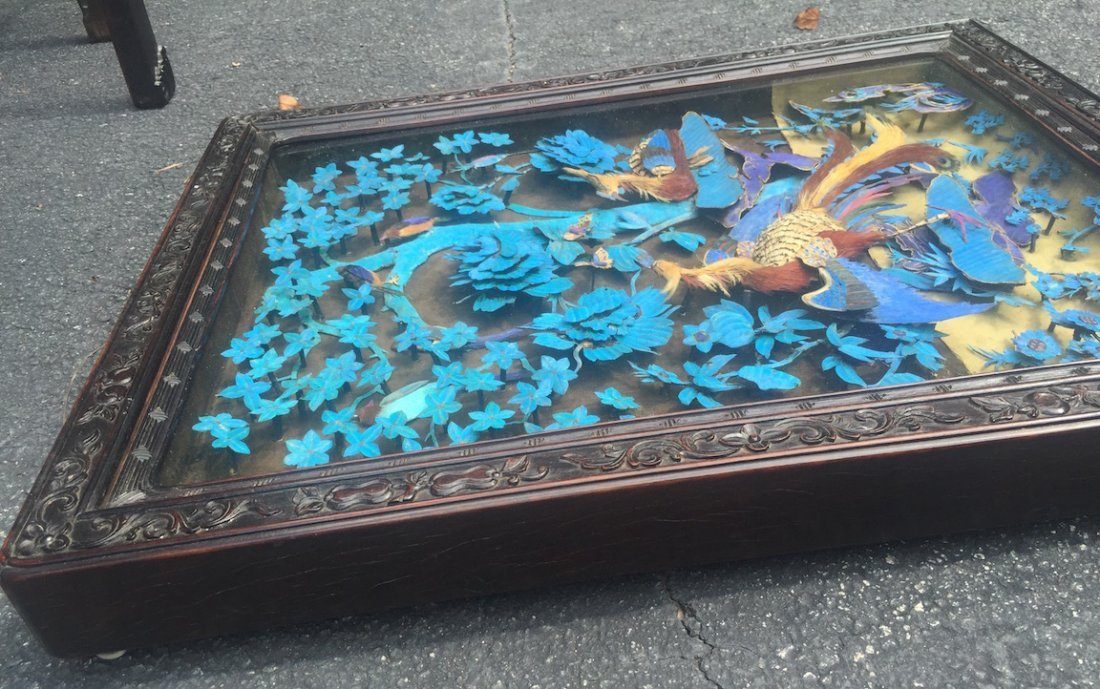 Chinese Large Kingfisher Panel紫檀木 - 8