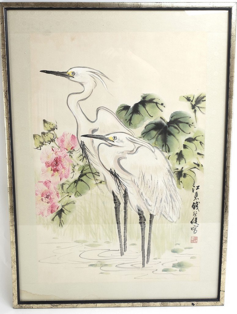 Chinese Framed Old Painting in Cranes