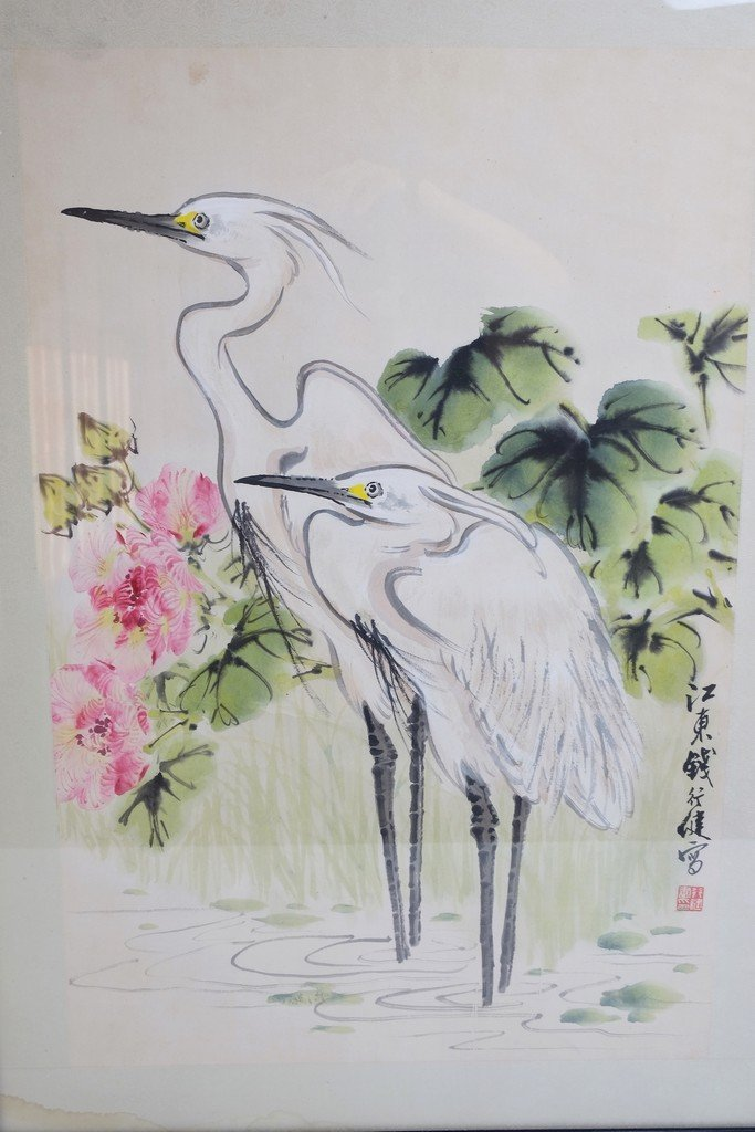 Chinese Framed Old Painting in Cranes - 2
