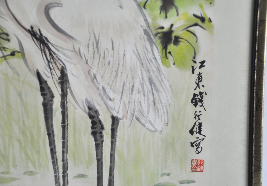 Chinese Framed Old Painting in Cranes - 3