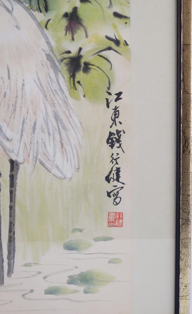 Chinese Framed Old Painting in Cranes - 7