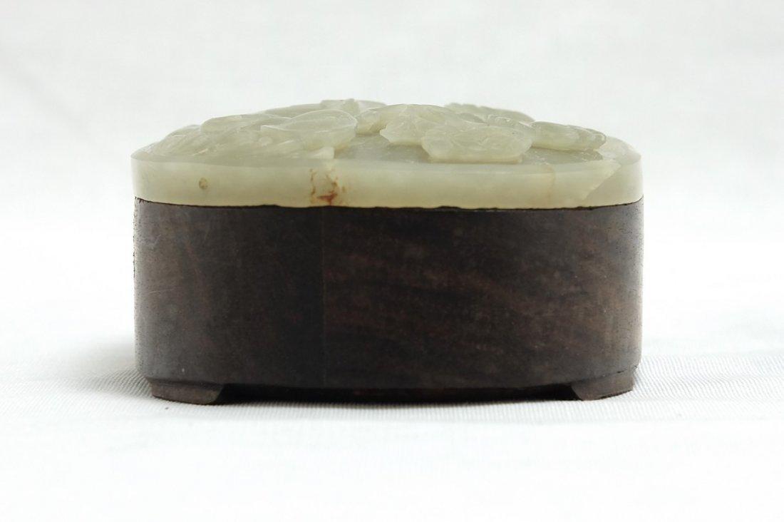 Chinese White Jade Round Wood Box - 2