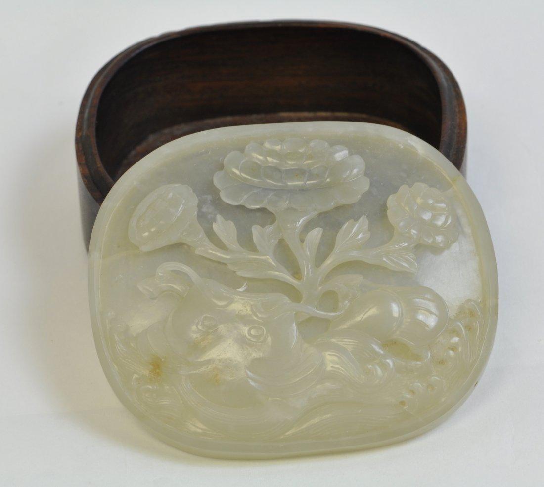 Chinese White Jade Round Wood Box - 3