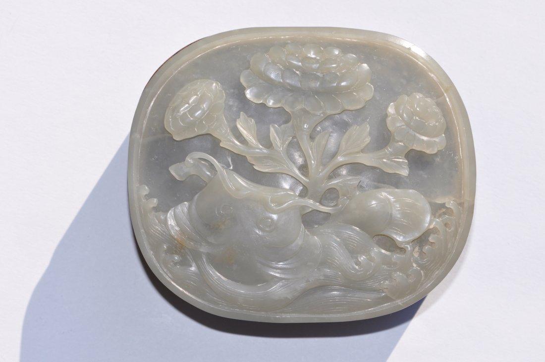 Chinese White Jade Round Wood Box - 4