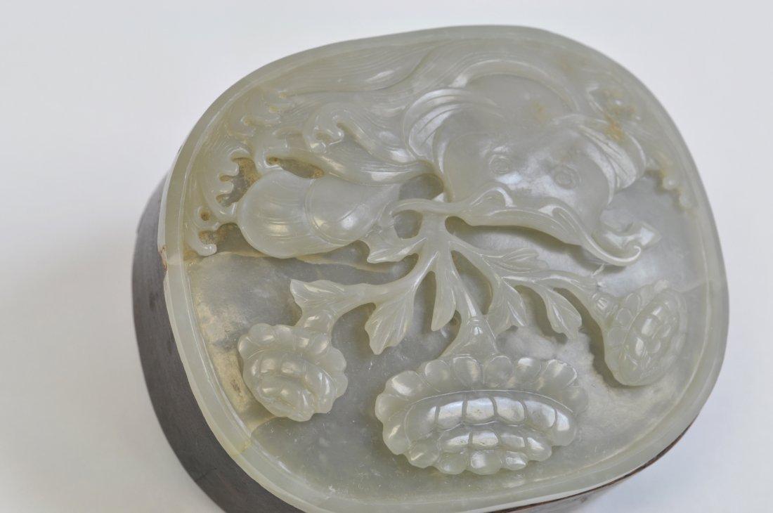 Chinese White Jade Round Wood Box - 5