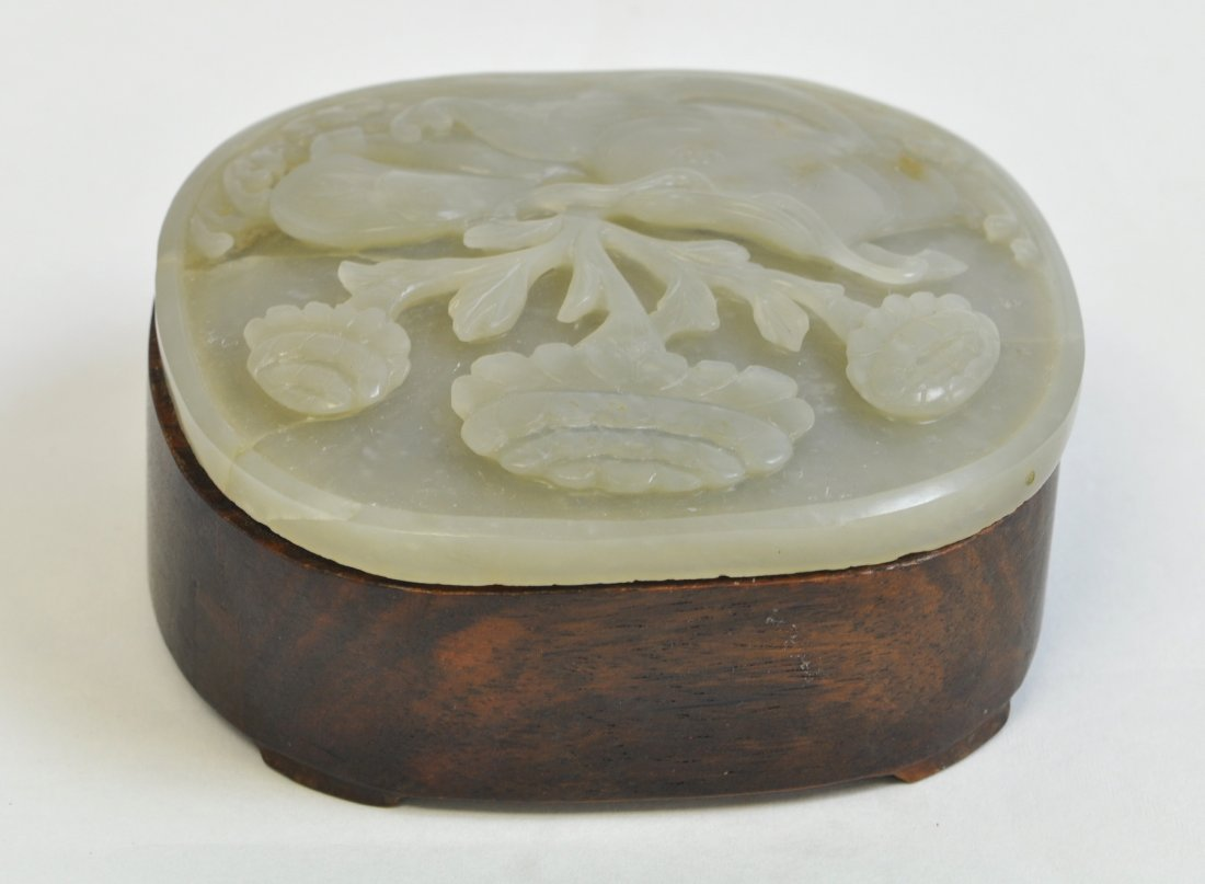 Chinese White Jade Round Wood Box - 9