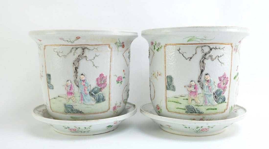 Chinese Pair of Famille Rose Planters with Undertrays