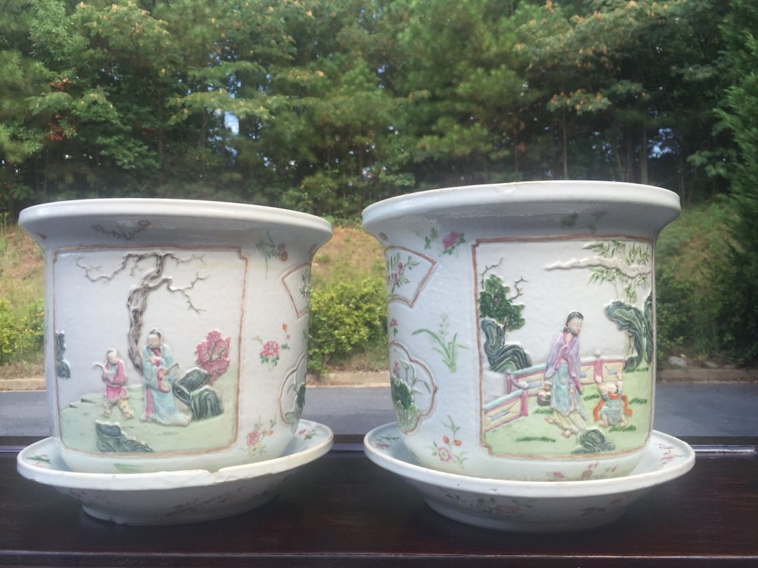Chinese Pair of Famille Rose Planters with Undertrays - 2