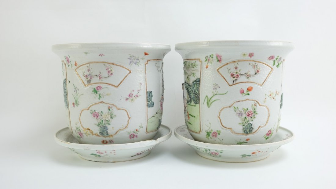 Chinese Pair of Famille Rose Planters with Undertrays - 3
