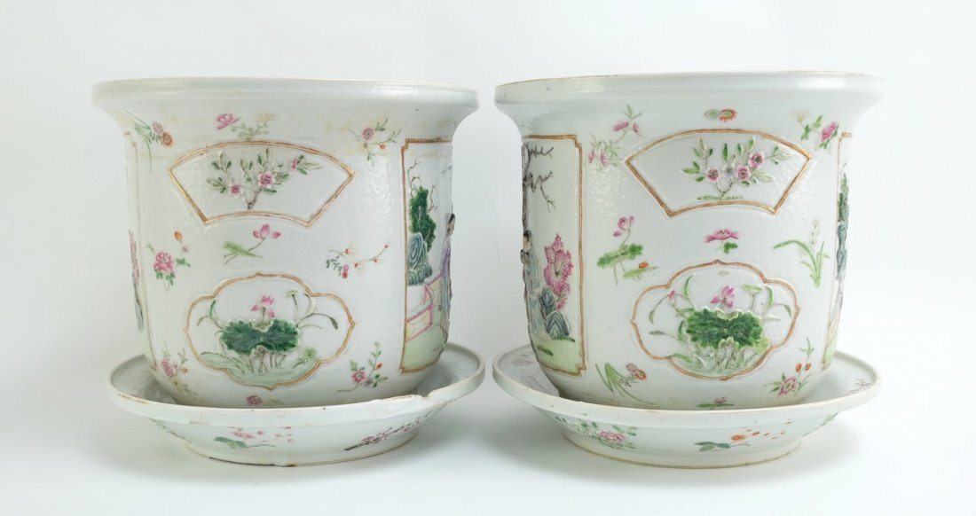 Chinese Pair of Famille Rose Planters with Undertrays - 4