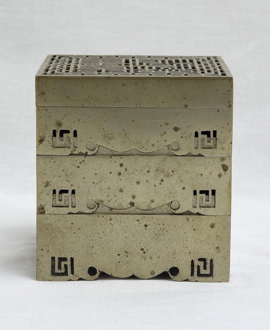 Chinese White Bronze Stack Box漢口任