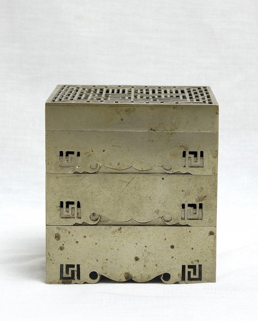 Chinese White Bronze Stack Box漢口任 - 2