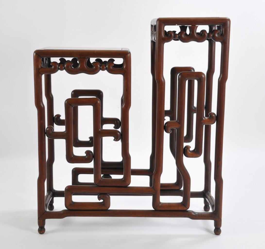 Chinese Tall Rosewood Twin Stand Marble Inset