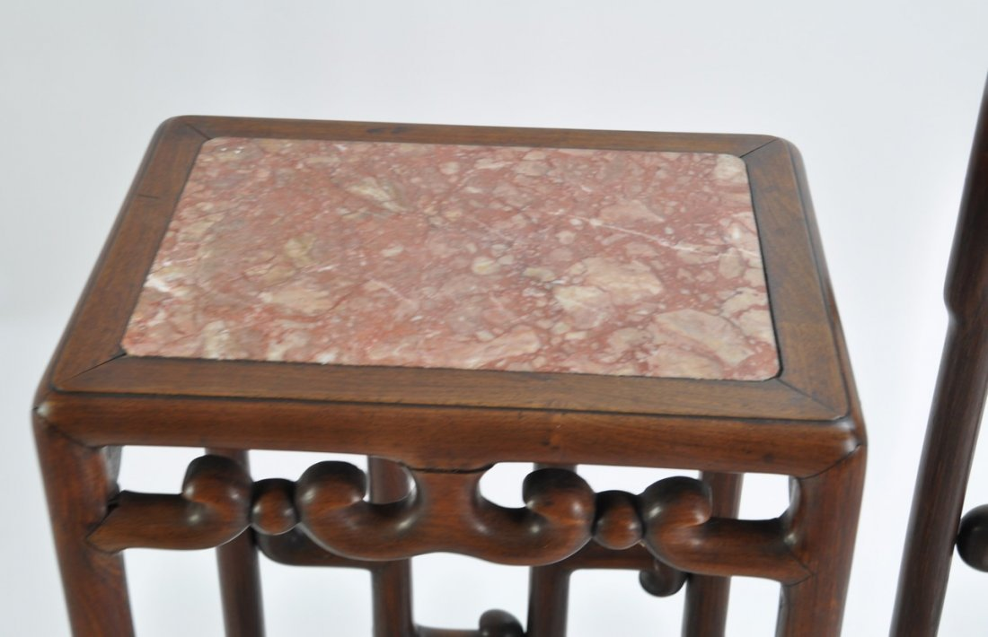 Chinese Tall Rosewood Twin Stand Marble Inset - 2