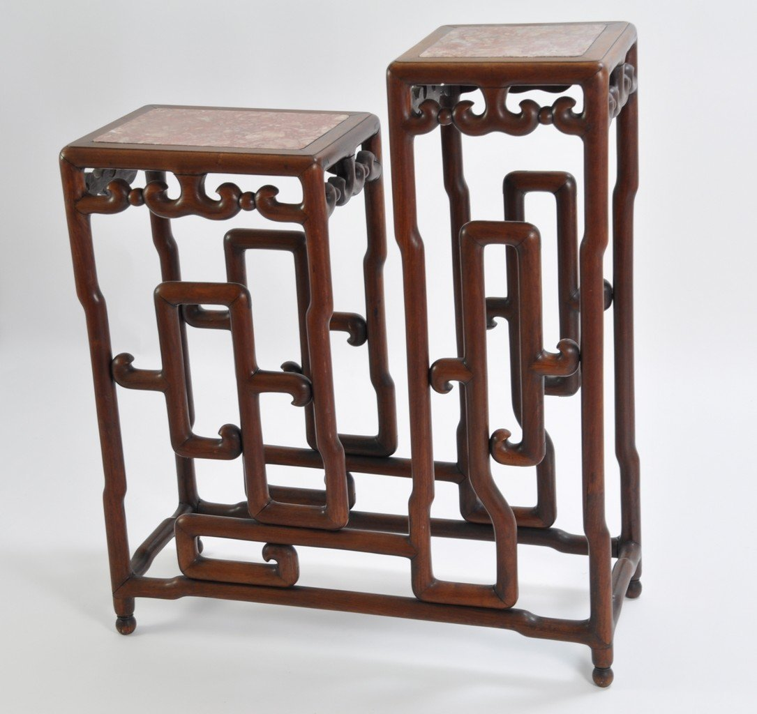 Chinese Tall Rosewood Twin Stand Marble Inset - 3