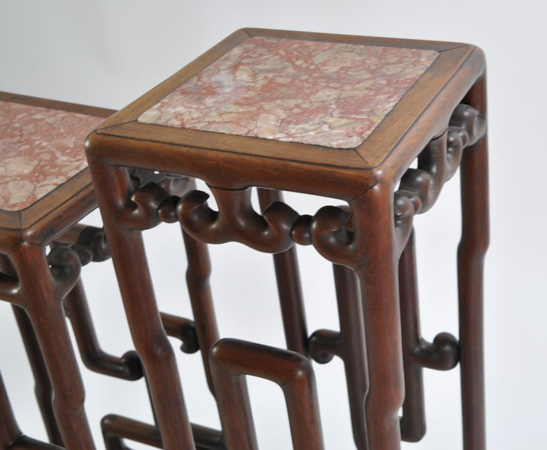 Chinese Tall Rosewood Twin Stand Marble Inset - 4