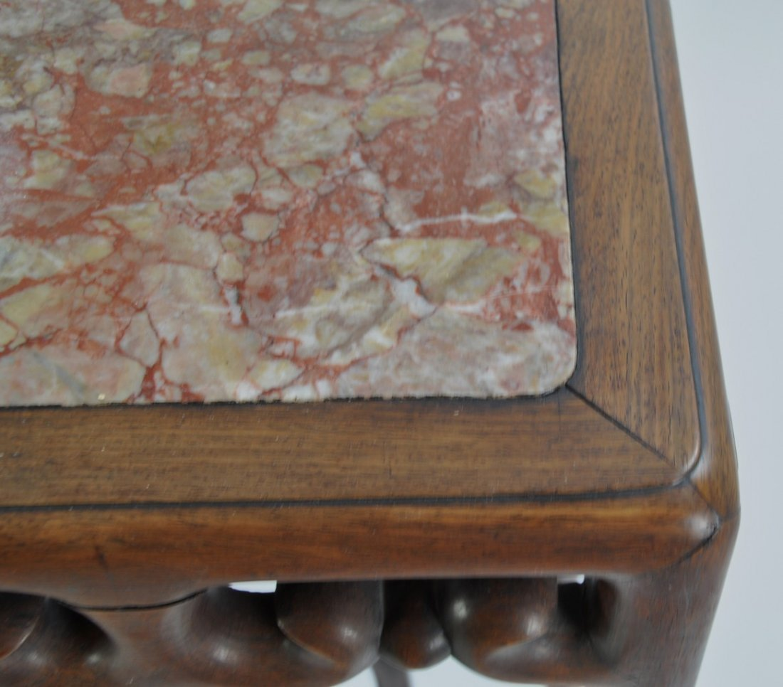 Chinese Tall Rosewood Twin Stand Marble Inset - 5