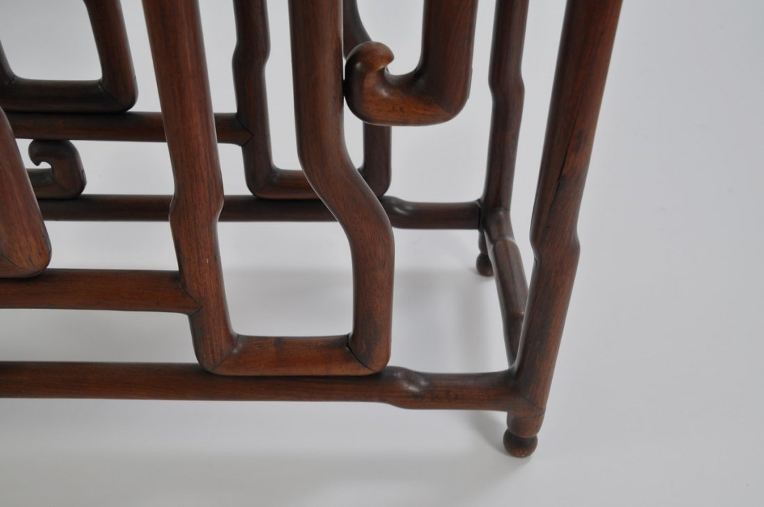 Chinese Tall Rosewood Twin Stand Marble Inset - 6