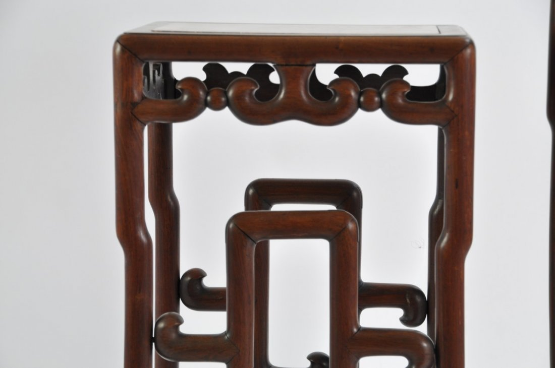 Chinese Tall Rosewood Twin Stand Marble Inset - 7