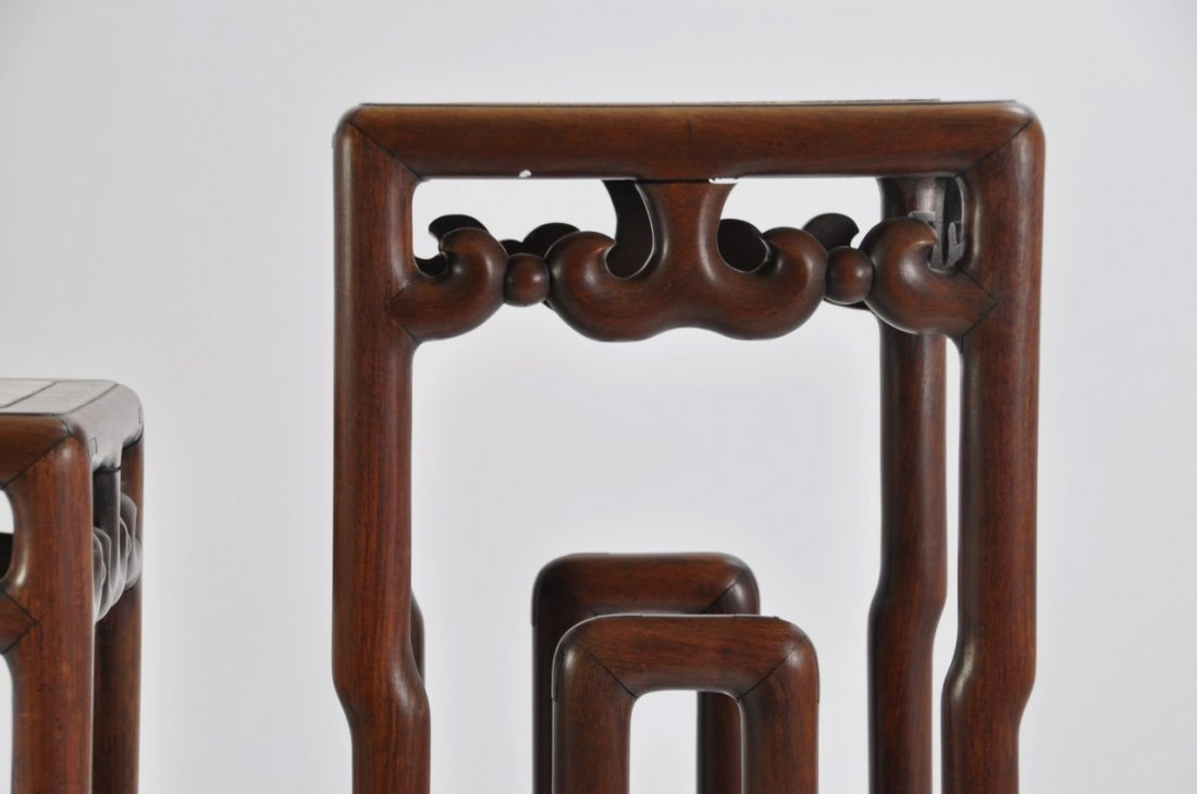 Chinese Tall Rosewood Twin Stand Marble Inset - 8