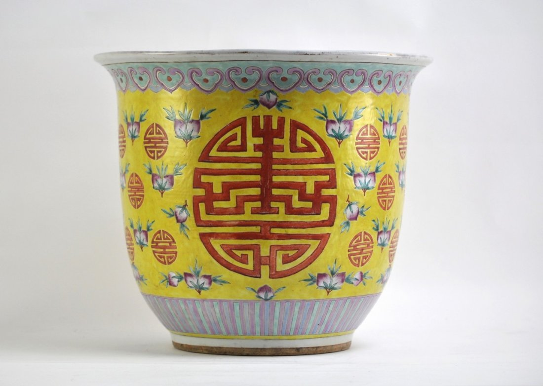 Chinese Planter in Yellow Background of Longivity Sigh