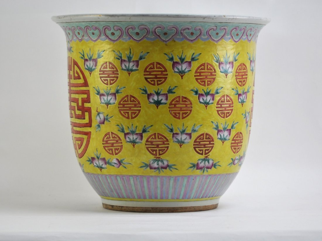 Chinese Planter in Yellow Background of Longivity Sigh - 2