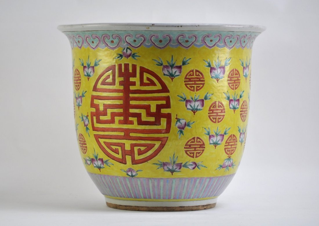 Chinese Planter in Yellow Background of Longivity Sigh - 3