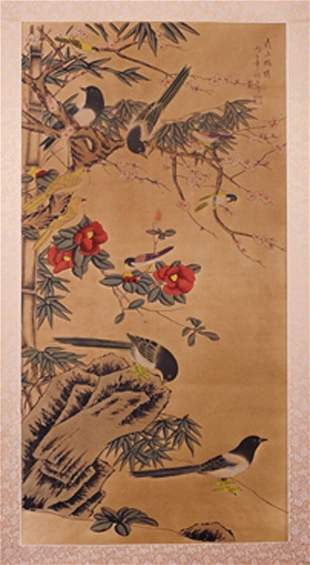 CHINESE SCROLL PAINTING BY LANG,SHINING