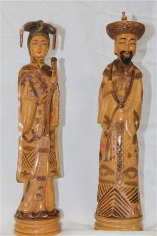 VERY FINE CHINESE CARVED WOOD FIGURES , HUANG HUA