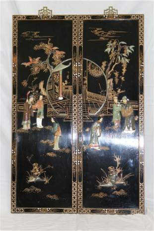 CHINESE CARVED WOOD & JADE FITTED PING