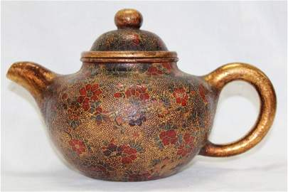 1031: CHINESE QING PALACE SAND FRENCE COLOR TEAPOT