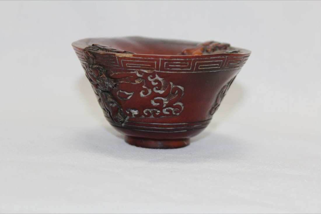 1026: VERY FINE QING CARVED HORN VESSEL