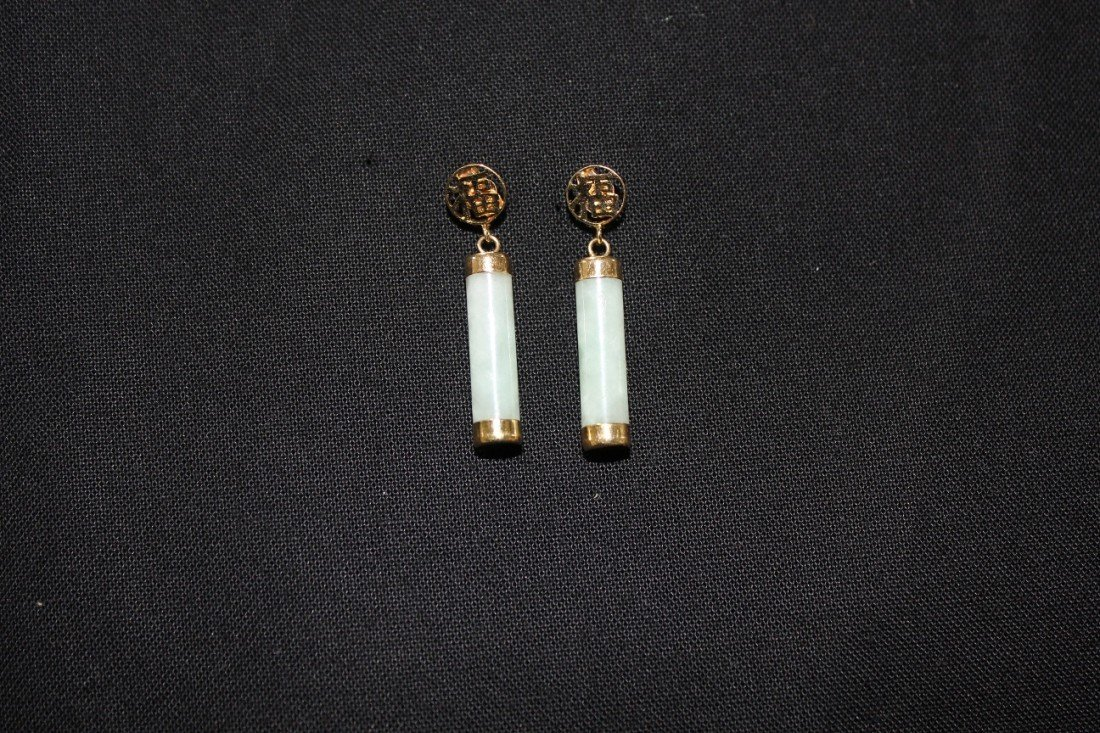 5007: Chinese pair of 14 k gold and jade ear rings