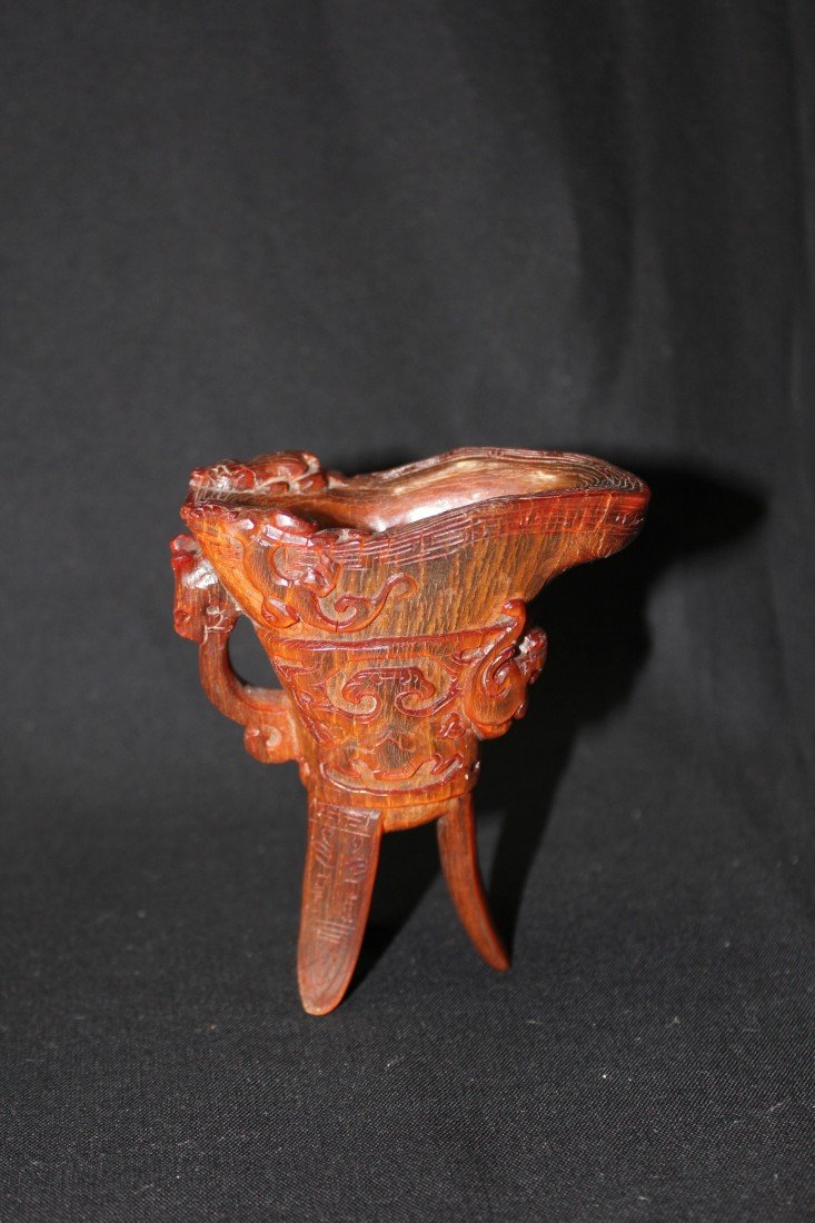 5008: Chinese Qing carved horn cup