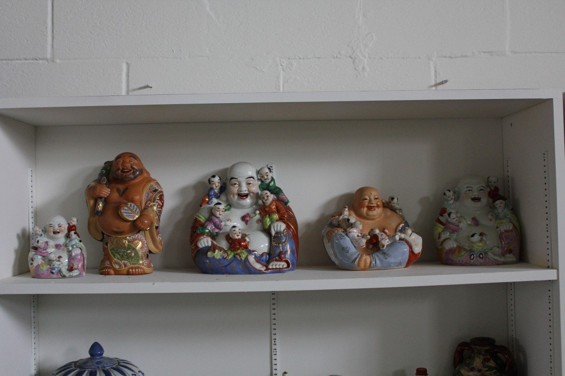 5018: Collection of five Chinese porcelain happy buddha