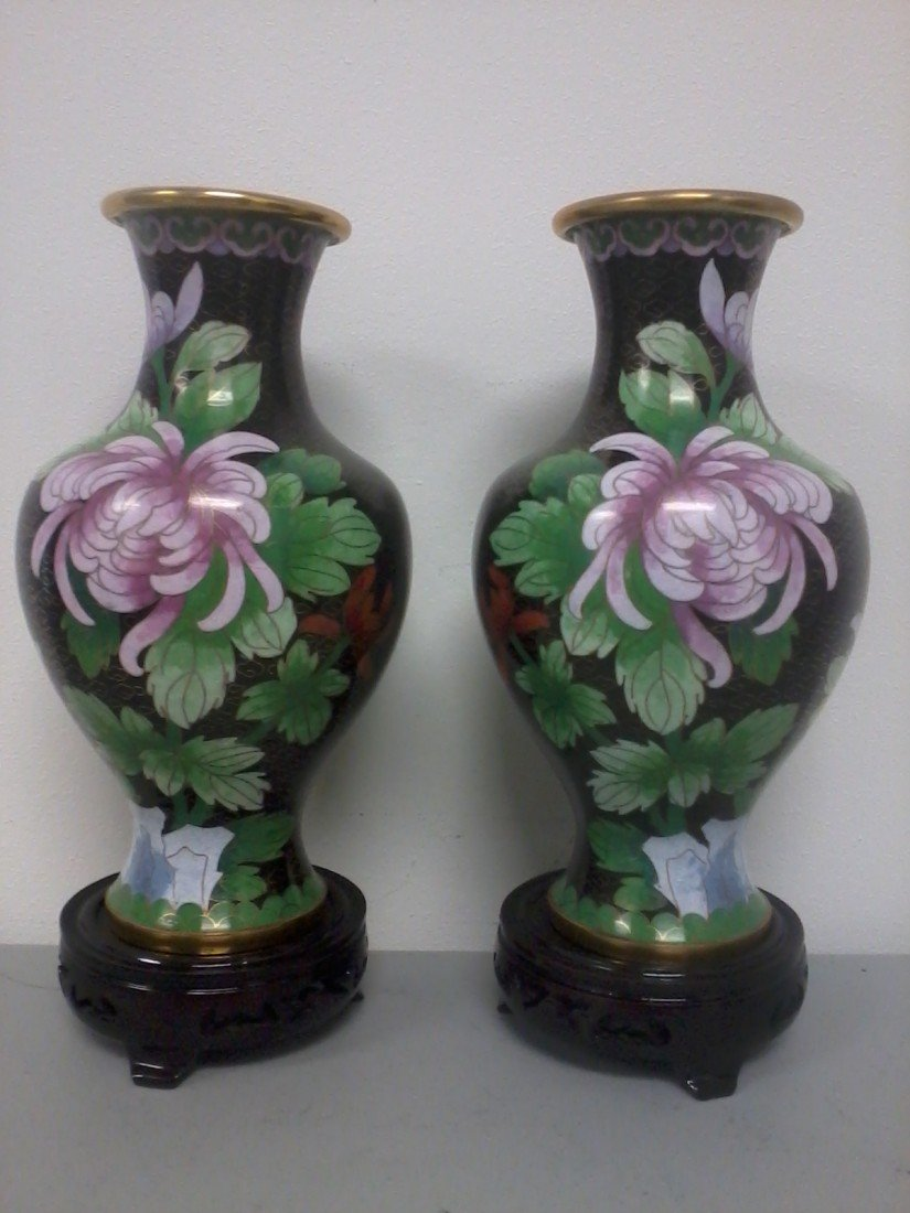 4004: Chinese  pair of cloisonne vases on wooden stand