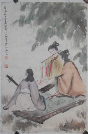 A fine Chinese painting attributed to Fu,Baoshi